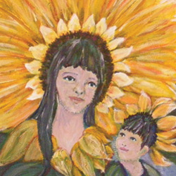 Madonna and Child in Sunflowers Note Card Set